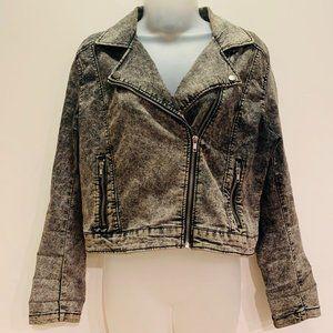 Vintage Divided HM Acid Wash Crop Moto Jacket